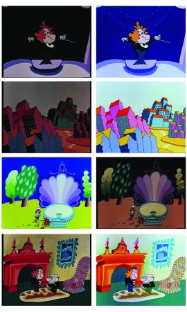 Na lijevoj strani su prizori iz Profesora Baltazara prije, a na desnoj poslije digitalne obnove.