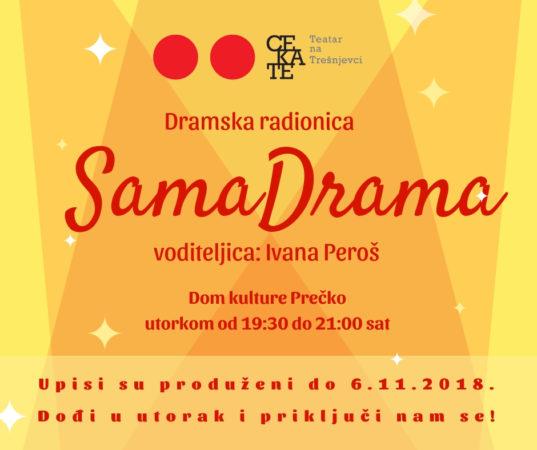 Produljeni su upisi u kazališnu radionicu SamaDrama/ dođite na ogledni sat početkom studenog